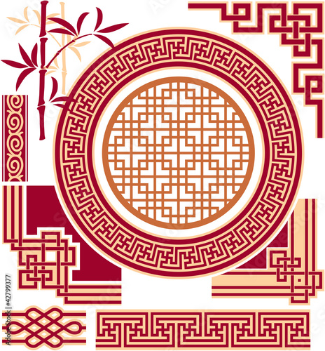 Fotografie, Obraz  Set of Chinese Oriental Design Elements
