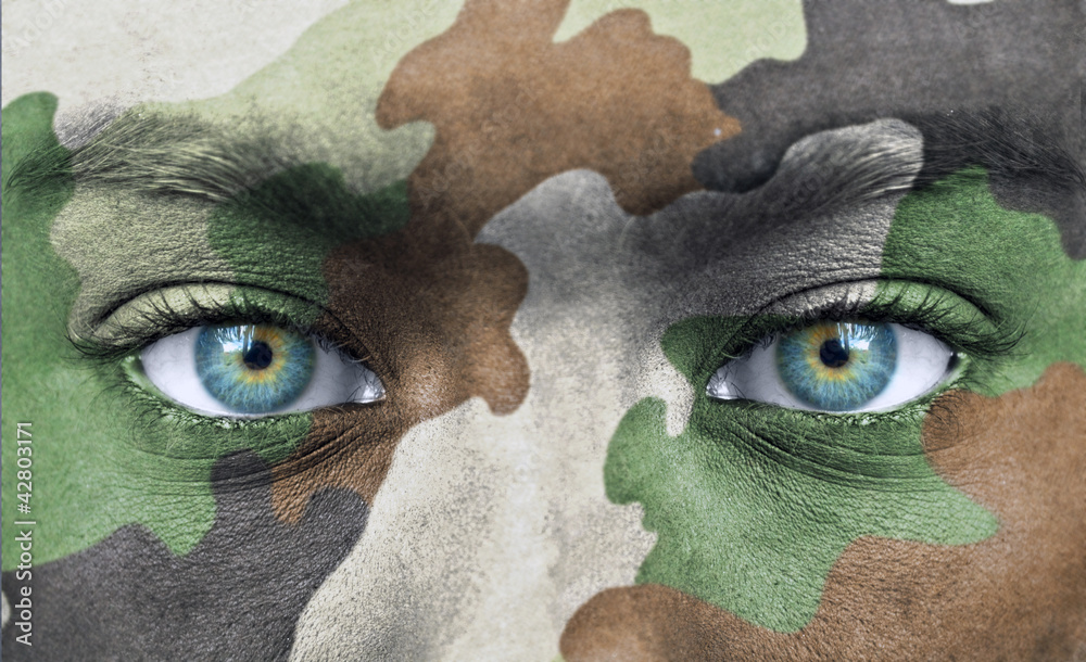 Fototapeta Soldier face with army colors