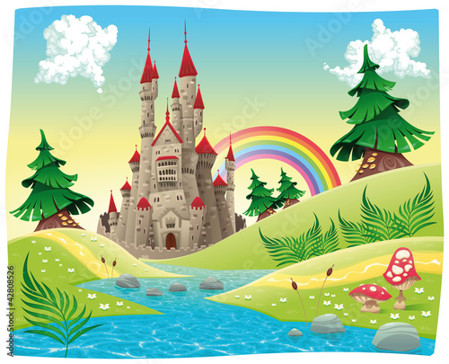 Photo Stands Castle Panorama with castle. Cartoon and vector illustration.