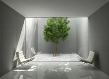 White Minimal Design Home , Green Lounge Area Atrium