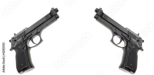 Two Black semi automatic handgun isolated on white background Wallpaper Mural