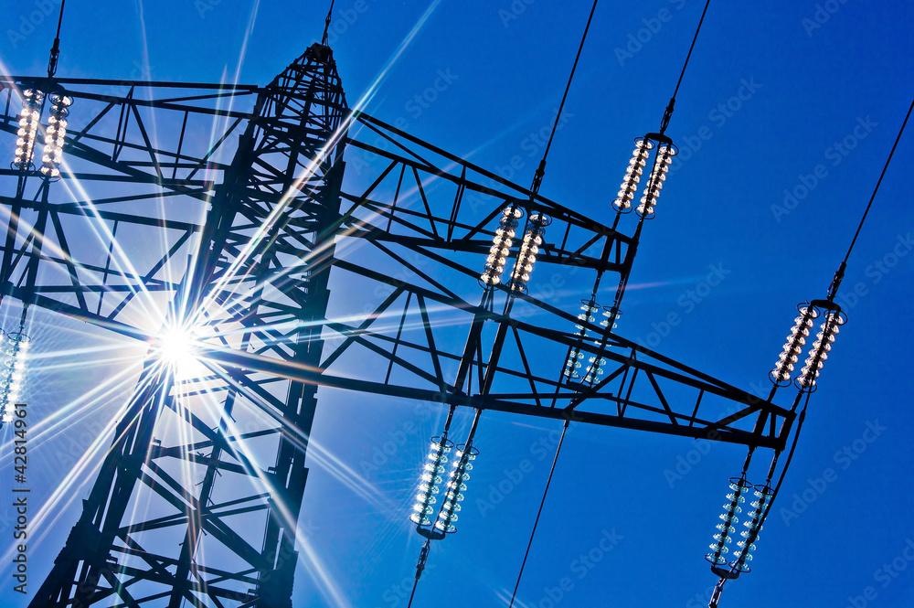 Fototapeta Stromleitung mit Sonne