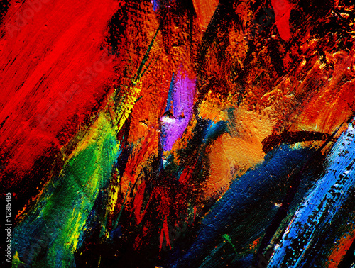 abstract chaotic painting by oil on canvas,  illustration, backg - 42815485