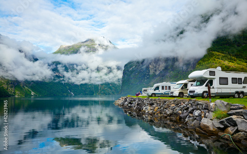 Deurstickers Kamperen Motorhomes at Norwegian campsite