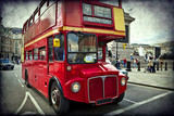 English red bus on the streets of London - 42824996