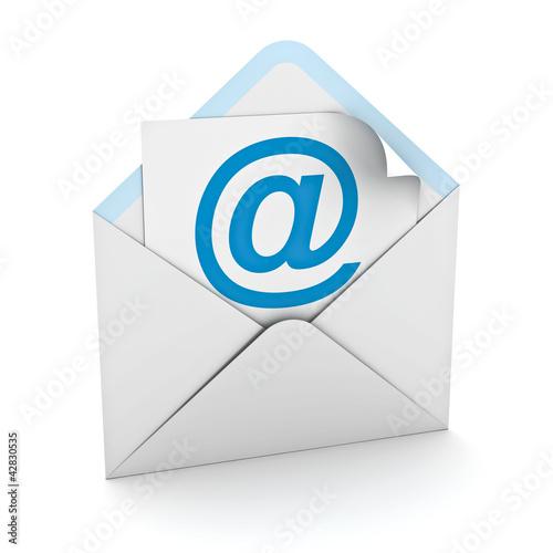 Fotografía  E mail concept on white background