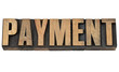 payment word in wood type