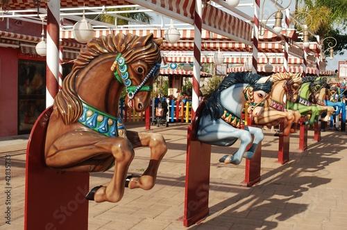 Deurstickers Stierenvechten Caballos