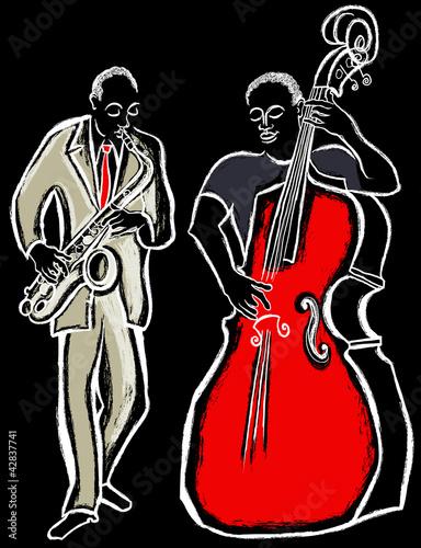 Staande foto Muziekband saxophonist and bass