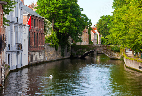 Wall Murals Bridges Classic view of channels of Bruges. Belgium.