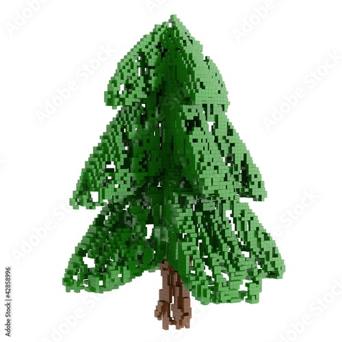 Foto op Aluminium Pixel pixelized The Christmas fir tree isolated on white background