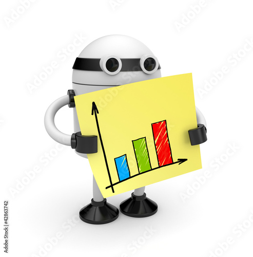 Poster Robots Robot with sticky note