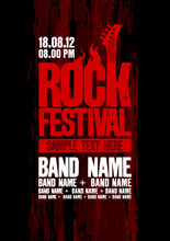 Rock Festival Design Template With Bass Guitar.