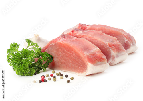 Staande foto Vlees raw meat with parsley and pepper