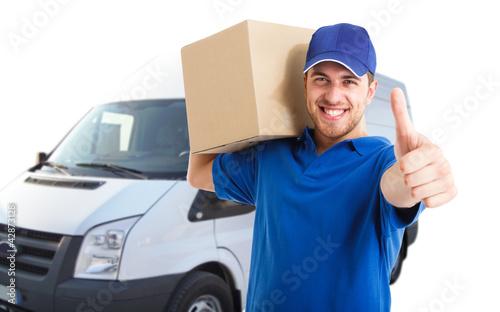 Fotografie, Obraz  Happy deliverer portrait