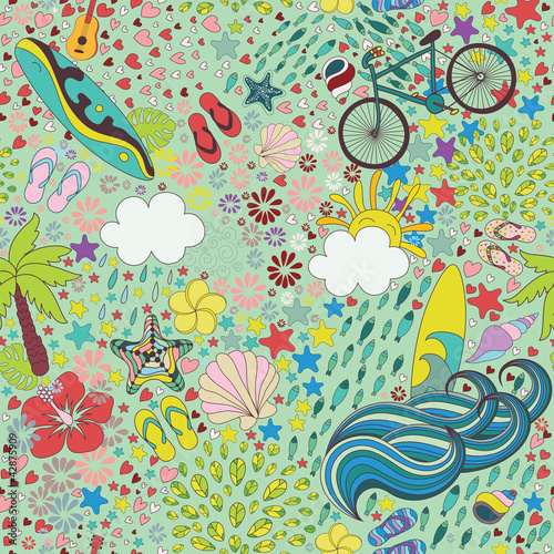 Cotton fabric aloha summer seamless pattern