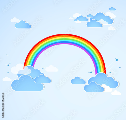 Poster Ciel Sky background with rainbow. Vector
