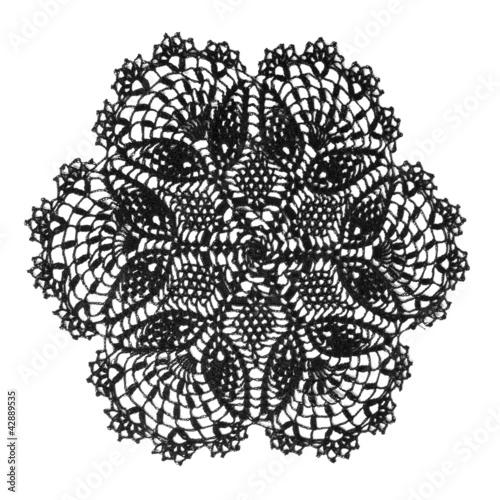 Valokuva  vintage crochet doily black