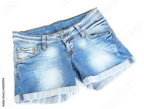 Fotografía  women jeans shorts isolated on white background