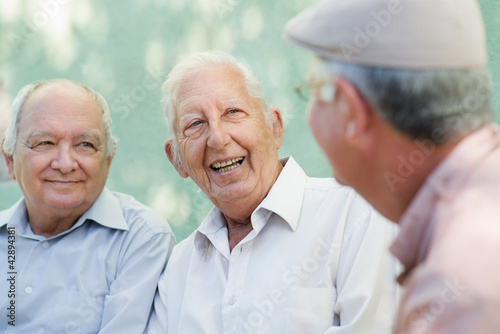 Fotografie, Obraz  Group of happy elderly men laughing and talking