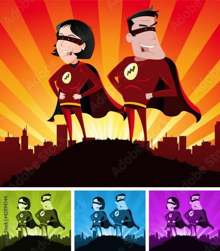 Poster Superheroes Super Heroes Male And Female