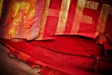 Old Torn Communistic Flag