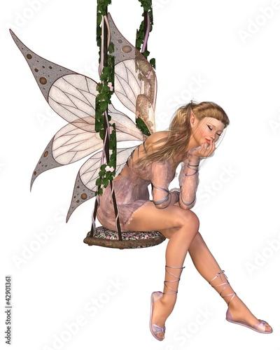 La pose en embrasure Fées, elfes Pretty Pink Fairy Daydreaming on a Swing