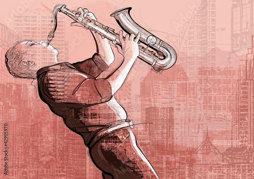 Staande foto Muziekband saxophone player in a street