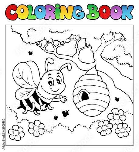 Spoed Foto op Canvas Doe het zelf Coloring book bugs theme image 4