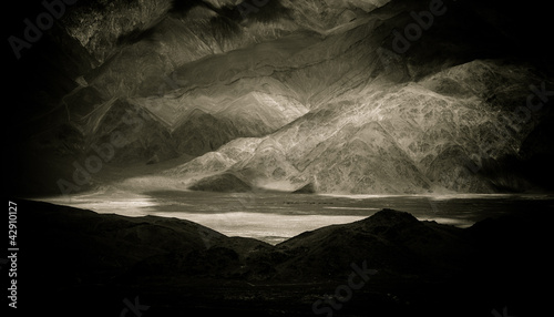 mountains & light, bw Wallpaper Mural