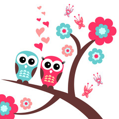 Naklejka Pretty romantic card with owls