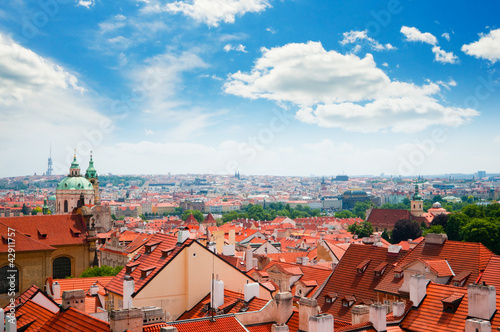 Staande foto Praag view of Prague city from hill