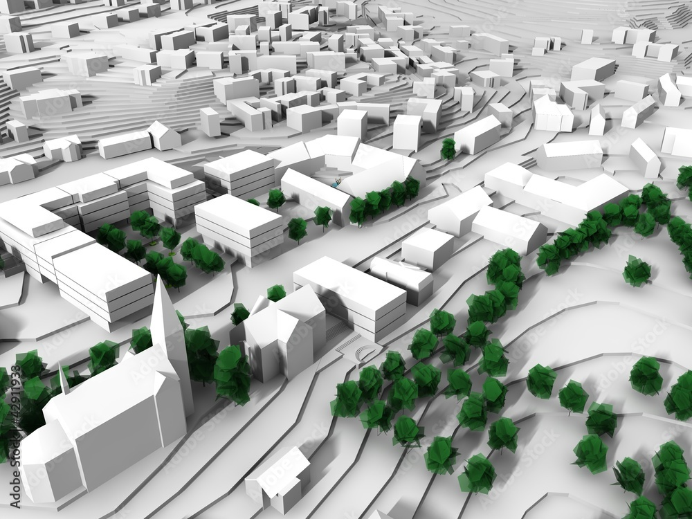 renderowanie modelu miasta w kolorze zielonym i białym