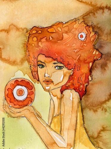 Poster Inspiration painterly akwarelowy portret dziewczyny