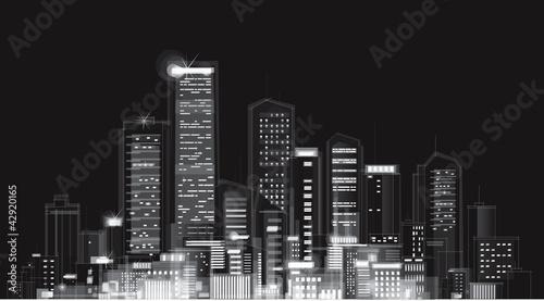 Vector of night city skyline