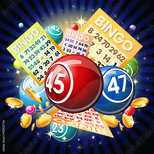 Bingo balls and cards on golden background плакат