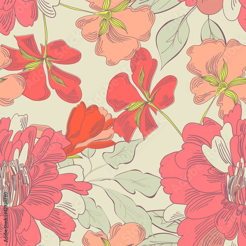 Keuken foto achterwand Abstract bloemen Colorful seamless pattern