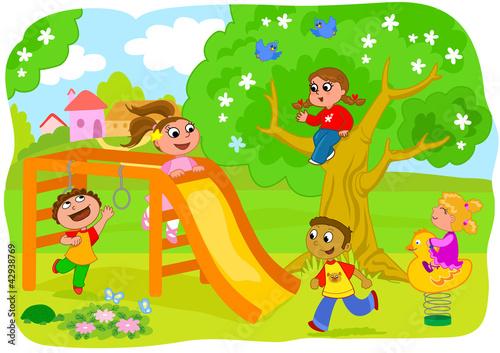 Poster Castle Bambini che giocano al parco giochi