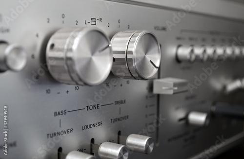 Canvas Vintage amplifier close up, old audio system