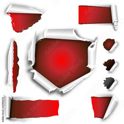 Fotografie, Obraz  aufgerissen -gestaltungsset rot