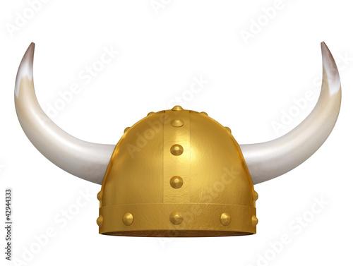 Photo  Viking Helmet isolated on white. 3D image