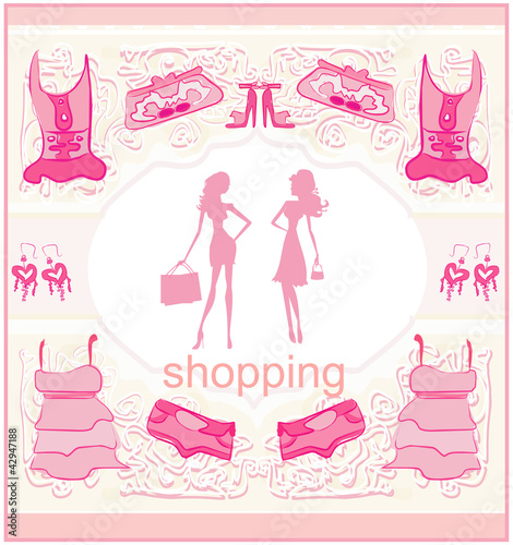 Poster Doodle fashion silhouettes girls Shopping