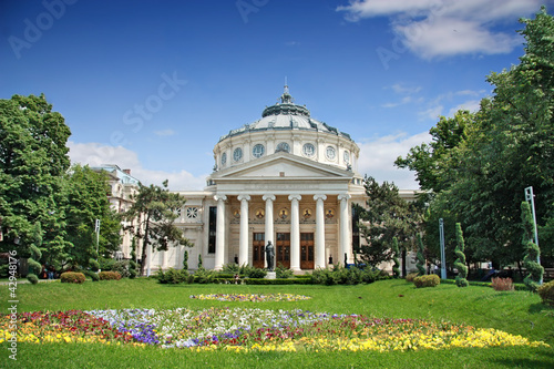 Photo Romanian Athenaeum is a concert hall in the center of Bucharest,