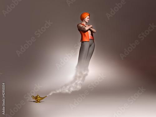 Fotografia  Genio saliendo de una lámpara mágica