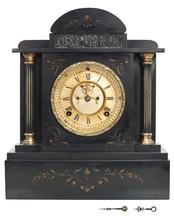 Antique Clock With Roman Numer...