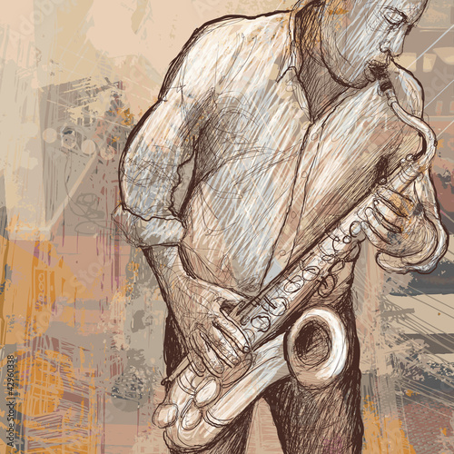 Poster Muziekband saxophonist playing saxophone on grunge background