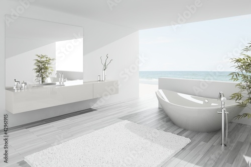 Valokuva  Exclusive Luxury Bathroom Interior by the sea | ocean