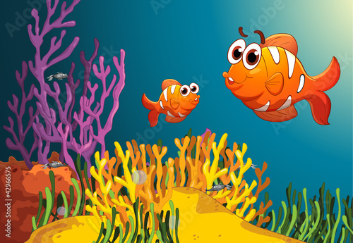 Poster de jardin Sous-marin fish in a deep water