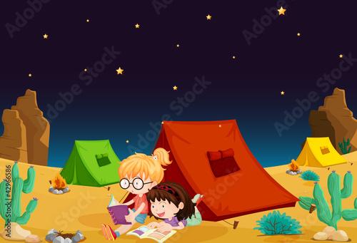 Fotobehang Indiërs tent house and girl reading books