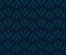 Seamless Vintage Damask Blue Pattern